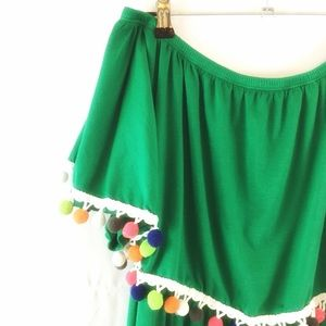 GREEN W/ COLORED POMS SHOULDER RUFFLE MAXI DRESS